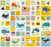 Tarjetas con los animales felices lindos ilustración del vector