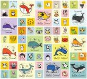 Tarjetas con los animales salvajes, nacionales y del campo felices lindos libre illustration