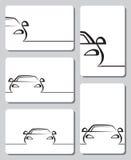 Tarjetas con los coches Imágenes de archivo libres de regalías