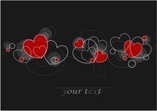 Tarjetas con los corazones rojos Fotos de archivo libres de regalías