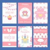Tarjetas con los ejemplos divertidos para los niños Símbolos de la pequeña princesa y del cuento de hadas stock de ilustración