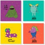 tarjetas con los monstruos ilustración del vector
