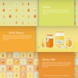 Tarjetas con los tarros de miel Sistema del vector Fotografía de archivo