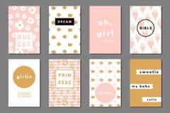 Tarjetas creativas del girlie Imagen de archivo libre de regalías