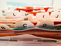 Tarjetas de índice alfabético. Datos del cliente en el ABC Imagen de archivo