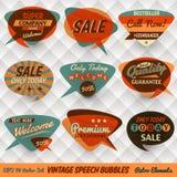 Tarjetas de burbujas del discurso del vintage Fotos de archivo libres de regalías