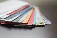 Tarjetas de crédito (borrosas) Fotografía de archivo