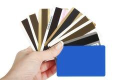 Tarjetas de crédito con el espacio de la copia Foto de archivo libre de regalías