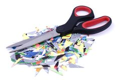 Tarjetas de crédito destrozadas Imagen de archivo libre de regalías
