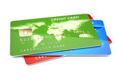 Tarjetas de crédito en un blanco stock de ilustración