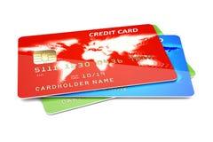 Tarjetas de crédito en un blanco ilustración del vector