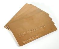 Tarjetas de crédito genéricas de los asuntos del oro Fotografía de archivo libre de regalías