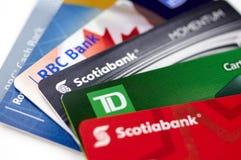 Tarjetas de crédito de los bancos canadienses foto de archivo