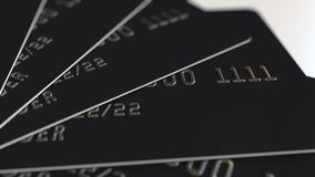 Tarjetas de crédito plásticas negras, animación loopable stock de ilustración