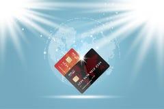 Tarjetas de crédito plásticas Parte delantera de la tarjeta con el mapa del mundo digital Ilustración EPS 10 del vector Fotos de archivo