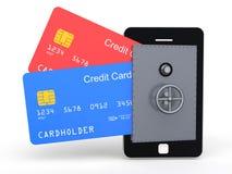 tarjetas de crédito 3d en cámara acorazada móvil Fotografía de archivo libre de regalías