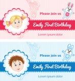Tarjetas de cumpleaños para el bebé Imagenes de archivo