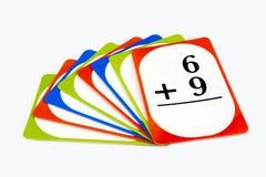 Tarjetas de destello de la matemáticas Imagen de archivo