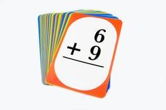 Tarjetas de destello de la matemáticas Imagenes de archivo