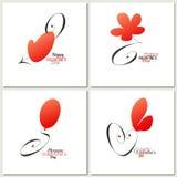Tarjetas de felicitación caligráficas elegantes del día de Valentineâs Fotos de archivo libres de regalías