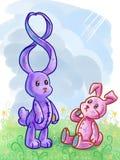Tarjetas de felicitación con dos conejos y figur cartoony Fotos de archivo libres de regalías