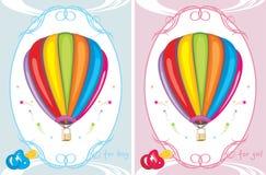 Tarjetas de felicitación con los balones de aire Fotografía de archivo libre de regalías