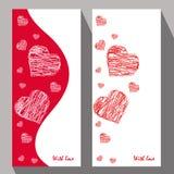 Tarjetas de felicitación con los corazones abstractos en el estilo étnico para el declarat Foto de archivo libre de regalías