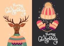 Tarjetas de felicitación de la Feliz Navidad Fotografía de archivo libre de regalías