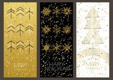 Tarjetas de felicitación de la Feliz Navidad o de la Feliz Año Nuevo fijadas ilustración del vector