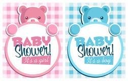 Tarjetas de felicitación de la invitación de la ducha de bebé stock de ilustración
