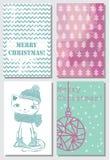 Tarjetas de felicitación de la Navidad Fotos de archivo libres de regalías