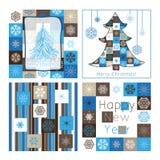 Tarjetas de felicitación de la Navidad - compilación del coche cuatro Imagen de archivo libre de regalías