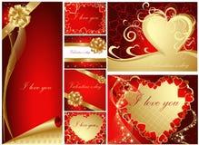 Tarjetas de felicitación de la tarjeta del día de San Valentín Imagenes de archivo