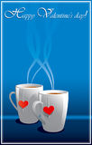 Tarjetas de felicitación de la tarjeta del día de San Valentín azul Fotos de archivo libres de regalías