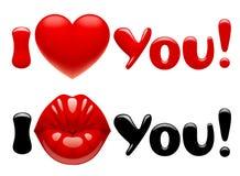 Tarjetas de felicitación de la tarjeta del día de San Valentín con los labios rojos que se besan brillantes femeninos, él ilustración del vector