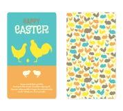 Tarjetas de felicitación de Pascua con las siluetas del animal del campo stock de ilustración