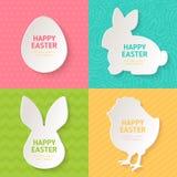Tarjetas de felicitación de Pascua con símbolos del corte del papel stock de ilustración