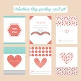 Tarjetas de felicitación del día de tarjeta del día de San Valentín fijadas Imagen de archivo libre de regalías