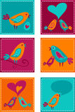Tarjetas de felicitación del og de la colección con los pájaros Fotografía de archivo