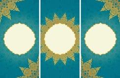 Tarjetas de felicitación en estilo del este en fondo azul Fotos de archivo