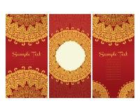 Tarjetas de felicitación en estilo del este en fondo rojo Imágenes de archivo libres de regalías