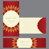 Tarjetas de felicitación en estilo del este en fondo rojo Fotos de archivo