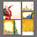Tarjetas de felicitación fijadas para la celebración de la Navidad Fotografía de archivo libre de regalías