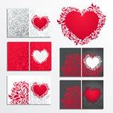 Tarjetas de felicitación florales del día de tarjeta del día de San Valentín Imagen de archivo libre de regalías