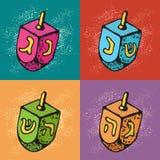 Tarjetas de felicitación judías de Jánuca del día de fiesta Sistema de los símbolos tradicionales de Hanukkah - dreidels Festival
