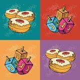 Tarjetas de felicitación judías de Jánuca del día de fiesta Sistema de los símbolos tradicionales de Hanukkah - dreidels y anillo