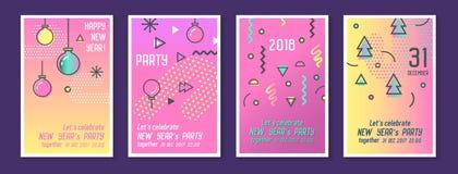 Tarjetas 2018 de felicitación de la Feliz Año Nuevo en de moda Imagen de archivo libre de regalías