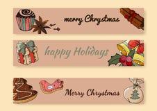 Tarjetas de felicitación de la Feliz Navidad fijadas Tarjetas de felicitación Plantilla para la estación y el diseño de la Navida libre illustration