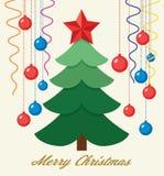 Tarjetas de felicitación de las vacaciones de invierno del vector con el árbol de navidad ilustración del vector