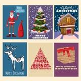 Tarjetas de felicitación preciosas lindas determinadas de la Navidad, Feliz Año Nuevo, tarjeta, Santa Claus con un bolso de regal ilustración del vector